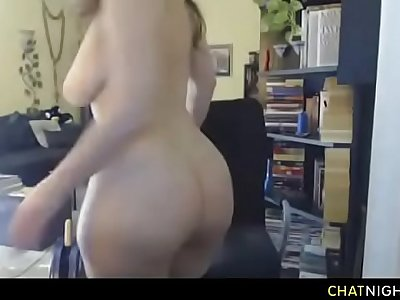 Horny MILF with big boobs and big ass masturbating on webcam