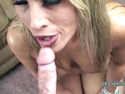 Mature slut Skylar Rae is on her knees and sucking dick