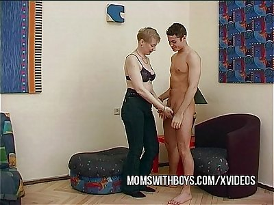 Horny Mature Convinces Young Lad To Fuck
