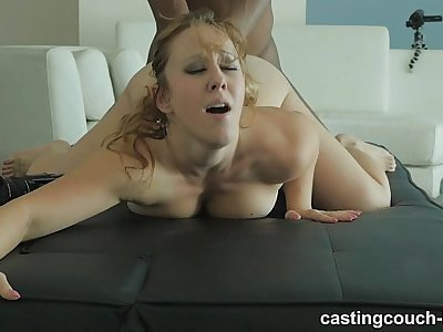 Extra Nasty amateur redhead licks ass and swallows giant black cock