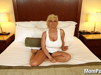 Big tit slutty MILF takes cum