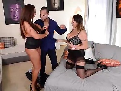 Ultra Big Titty European Milfs in Hardcore Threesome